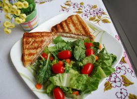 Grilled Sandwich and Salad by BlueBluebutterfly05