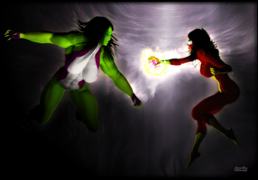 She-Hulk vs Spider-Woman by TonyDumont