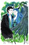 Maleficent and Diaval by Kimir-Ra