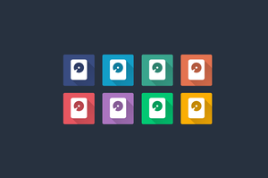 Flat Shadow Hard Disk Drive Icon Multiple Colors by flat-icons