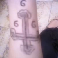 Inverted  cross on my forearm by NokturnaMortum