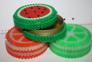 Fruit Snuff boxes - Hama Beads by lwordish