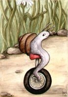 Uni-cycling Snail by WildWoodArtsCo