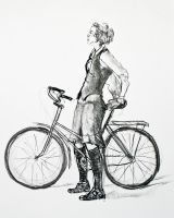 Girl on Bicycle by mbeckett