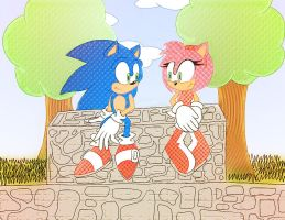 Sonic and AmyXX Painted by gaby888