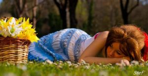 sleeping on the grass by YunieBlossomCosplay