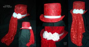 Red and White Rose Mini Tophat by La-Loca