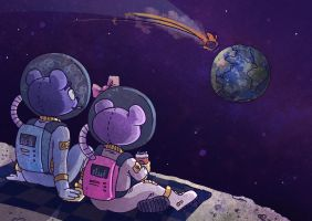 Teddy Bears in Outer Space by asmithart