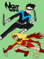 Flamebird and Nightwing by Darth-Chaltab