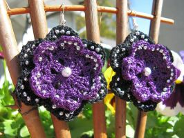 Beaded Double Flower Crochet Earrings by doilydeas