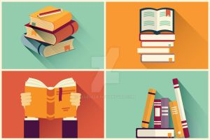 Set of books in flat design by BlueLela