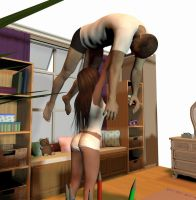 Gymnast girl tries to lift her big brother over he by WanderingBytes