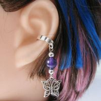 Purple Butterly Ear Cuff by merigreenleaf