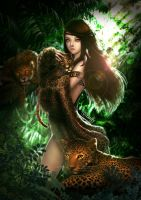 the girl with leopards by yanfy