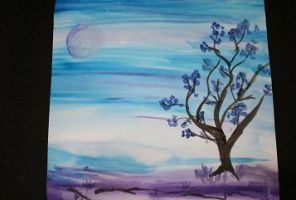 Simple purpleishblue landscape by Reshmie