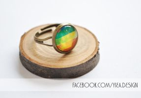 colourful stripes ring, small jewelry by yiea