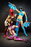 skarlet, mileena and kitana mortal kombat 9 by AsherWarr