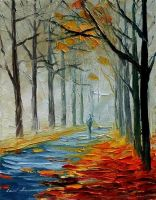 Morning fog by Leonid Afremov by Leonidafremov