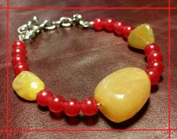 Dyed Red Jade with Agate Bracelet by ArgentumDrache