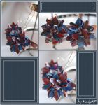 Blue-red check earrings by MaGeXP