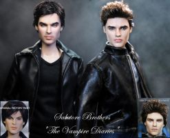 Vampire Diaries Stefan and Damon doll repaints by noeling