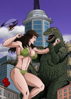 50-Foot Woman Vs Godzilla by MikeMcelwee