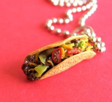 Taco Necklace by MotherMayIjewelry