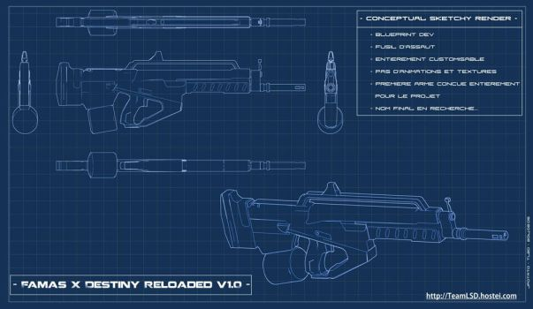UDK Project- Famas X Destiny Blueprint Render by TeamL2DCompany