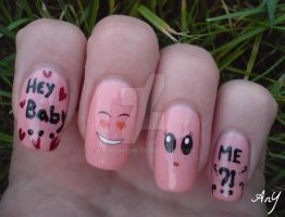 Hey Baby Nail Design by AnyRainbow