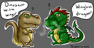 Dinosaur vs Dragon +Settling the differences+ by iSapphirus