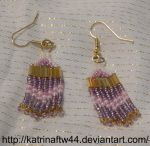 Cream, Pink and Purple Brick Stitch Earrings by KatrinaFTW44