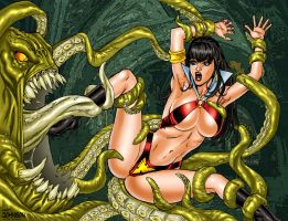 Vampirella vs Tentacles by Superheroine-Art