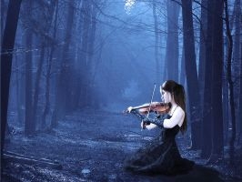 Violin in the forest by datacenter
