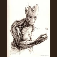 Groot - Inktober - Day 12 by sydniart