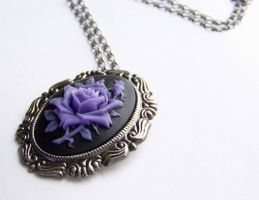 Purple Rose Necklace by ms-pen