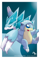 Ice Sandshrew and Ice Sandslash ~ Alola Forms by EixelPlayer