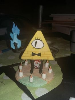 Bill Cipher statue by eha1027