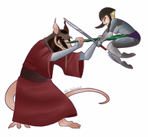 Master Splinter Vs. Karai by Shellsweet