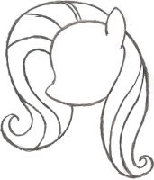 My Little Pony Sketch - Fluttershy's Head by AncientOwl