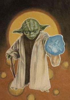 Summer card project-Yoda-Prismacolor by Skubis
