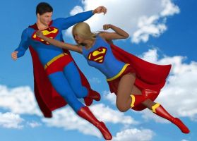 Super man vs.  supergirl by cattle6