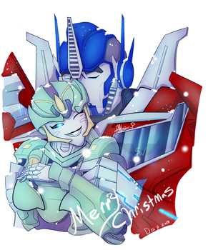 Christmas gift_06 Yula and Optimus by Stolen-Wings