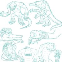 Leatherhead sketches by MetaLatias5
