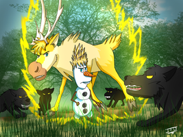 Frozen-DBZ - Fun - Sven and Olaf as Super Saiyans  by JackFrostOverland