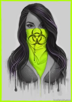 Masked Girl - Green by Bomu
