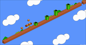 Super Mario Bros. World 1-1 (Isometric Pixelart) by AndersNor