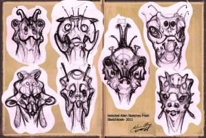 New Alien Sketches by PoetryMan1