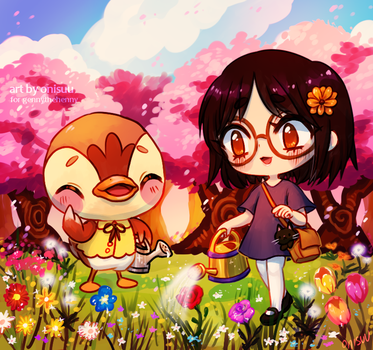 commission -- molly and the flowers by onisuu