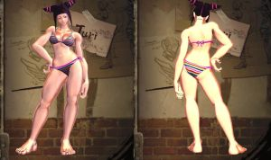 SFxT Mod: Juri Lolipop Chainsaw Striped Bikini by repinscourge