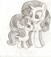 Rarity And Sweetie Bell Sketch by Psybreon